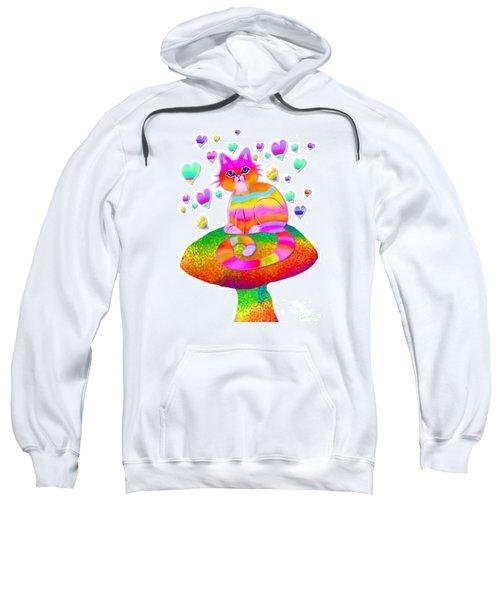 Rainbow Cat Hearts And Mushrooms Sweatshirt