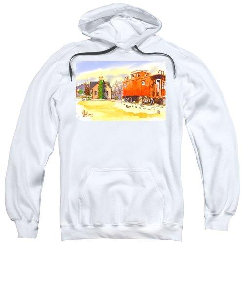 Red Caboose At Whistle Junction Ironton Missouri Sweatshirt