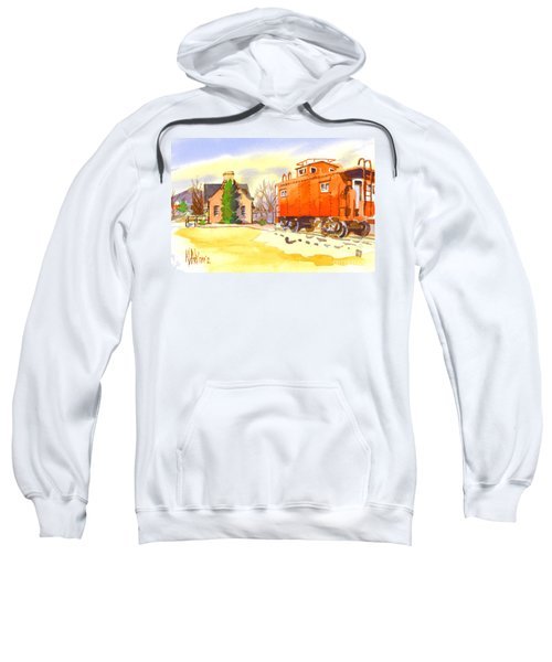 Red Caboose At Whistle Junction Ironton Missouri Sweatshirt