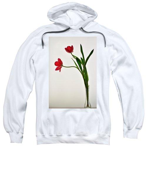 Red Flowers In Glass Vase Sweatshirt