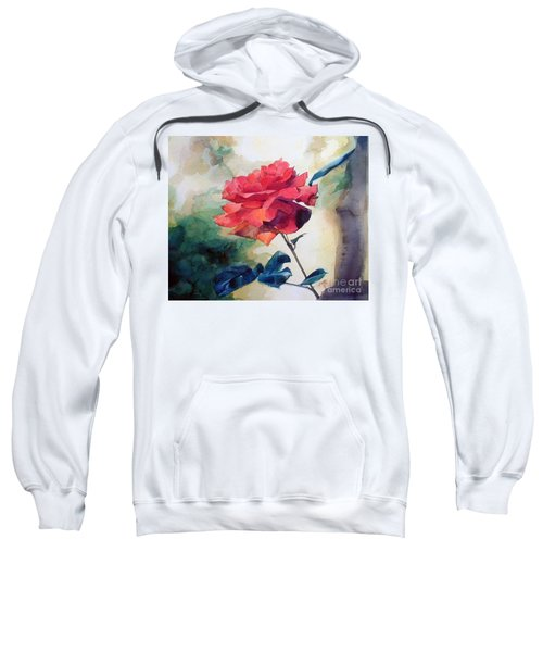 Watercolor Of A Single Red Rose On A Branch Sweatshirt