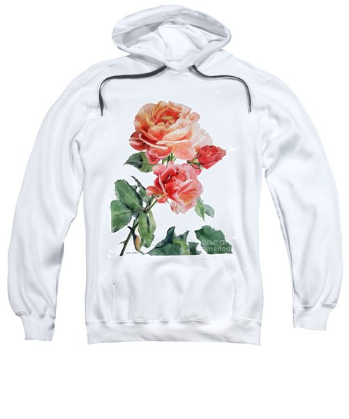 Watercolor Of Red Roses On A Stem I Call Rose Maurice Corens Sweatshirt