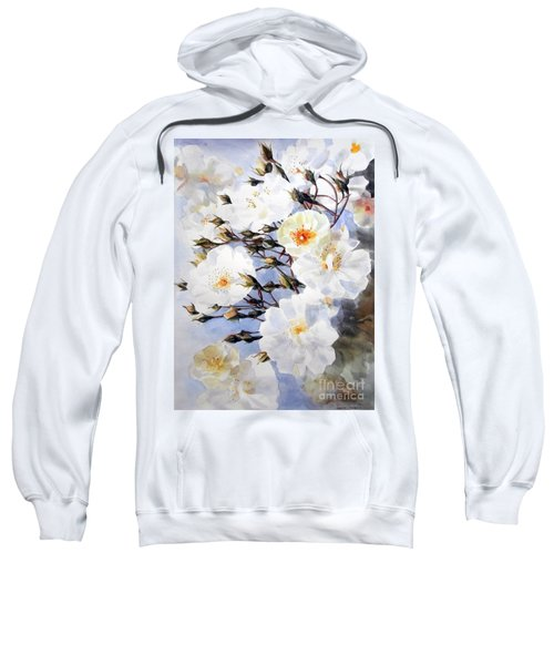 Wartercolor Of White Roses On A Branch I Call Rose Tchaikovsky Sweatshirt