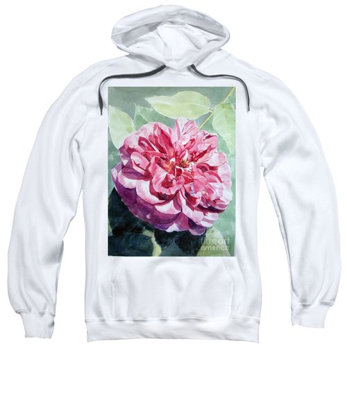 Watercolor Of A Pink Rose In Full Bloom Dedicated To Van Gogh Sweatshirt