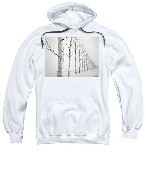 Row Of Birch Trees In The Snow Sweatshirt