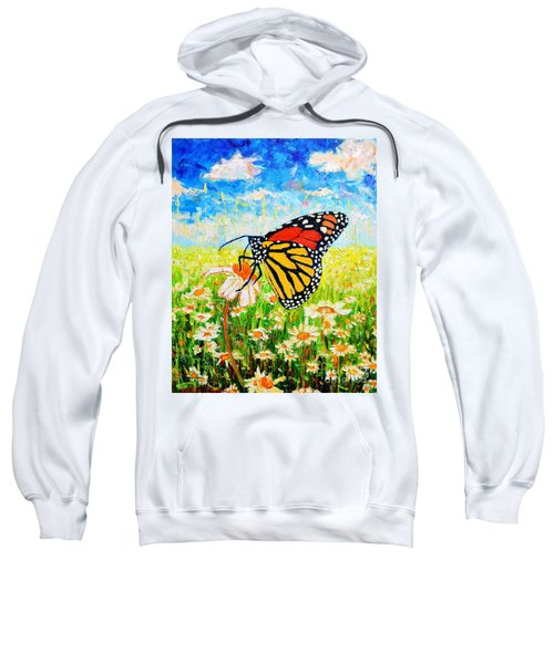 Royal Monarch Butterfly In Daisies Sweatshirt