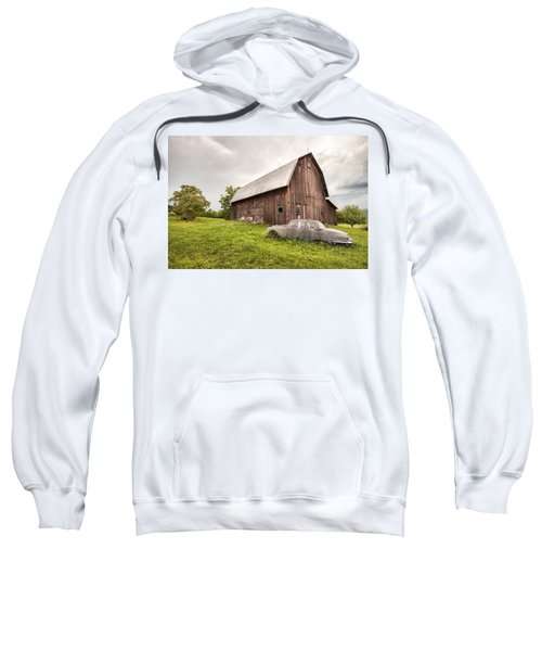 Rustic Art - Old Car And Barn Sweatshirt
