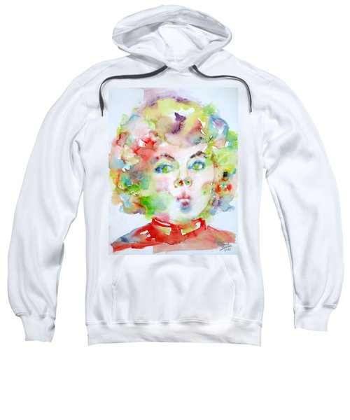 Shirley Temple - Watercolor Portrait.2 Sweatshirt by Fabrizio Cassetta
