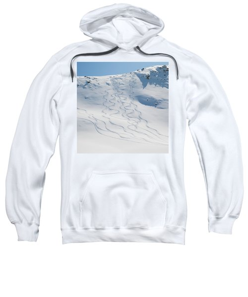Ski Tracks In The Snow On A Mountain Sweatshirt