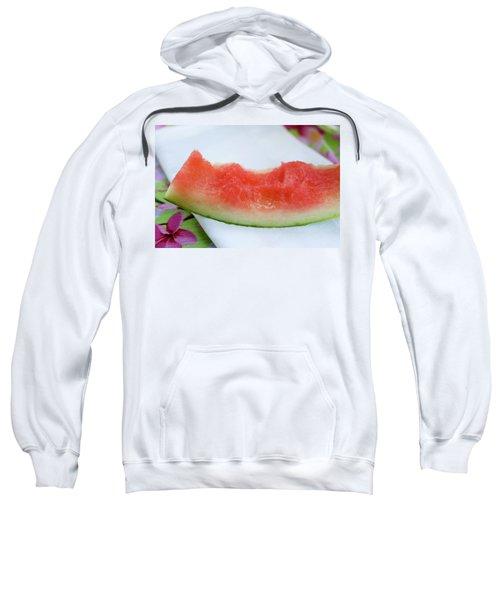 Slice Of Watermelon With Bites Taken On Fabric Napkin Sweatshirt