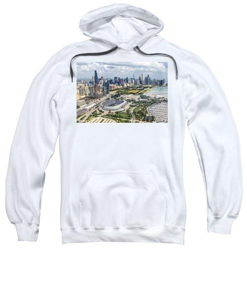 Soldier Field And Chicago Skyline Sweatshirt by Adam Romanowicz
