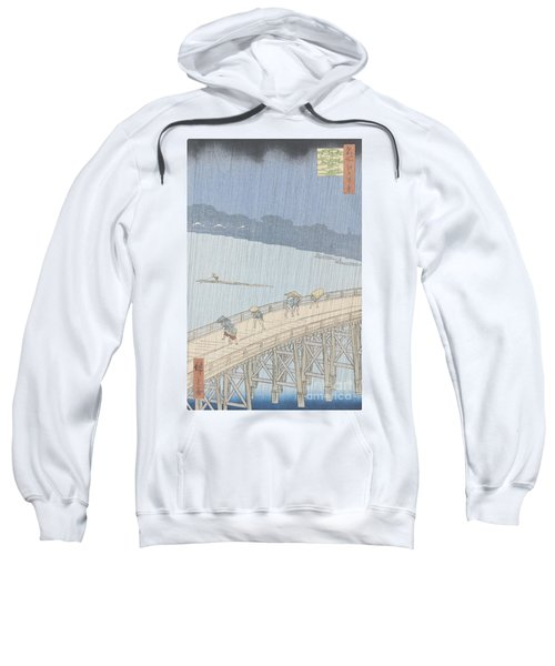 Sudden Shower On Ohashi Bridge At Ataka Sweatshirt