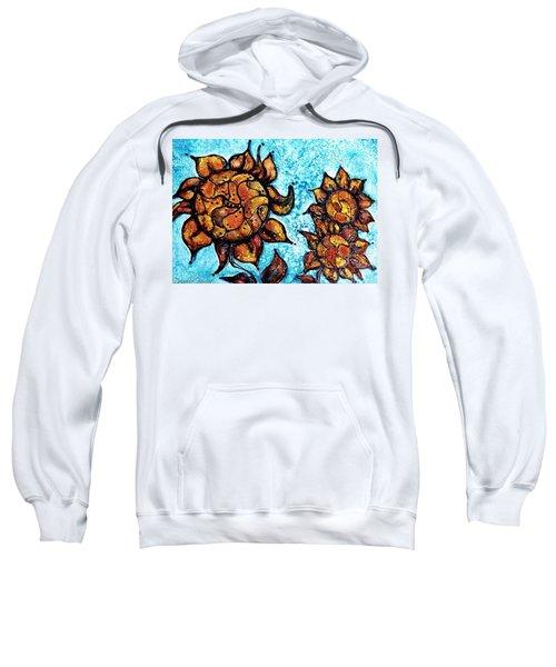 Sunflower Patchwork Delight Alcohol Inks Sweatshirt