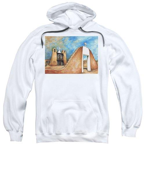 Taos Pueblo New Mexico - Watercolor Art Painting Sweatshirt