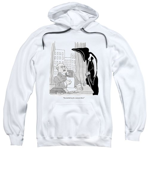The Grim Reaper Leans Over An Executive's Desk Sweatshirt