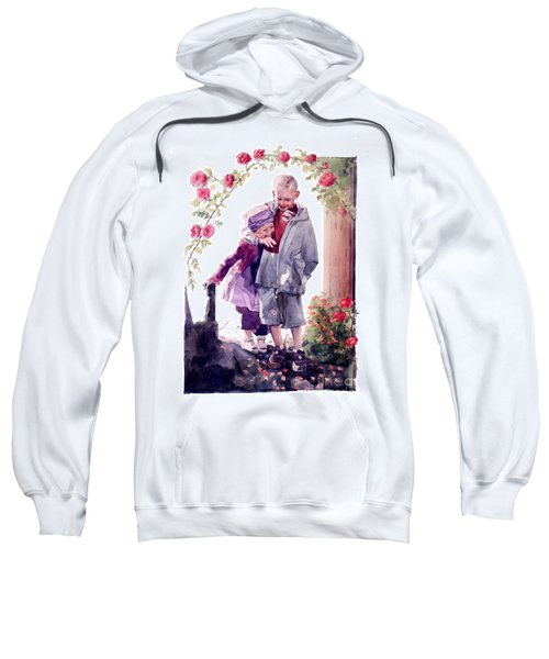 Watercolor Of A Boy And Girl In Their Secret Garden Sweatshirt