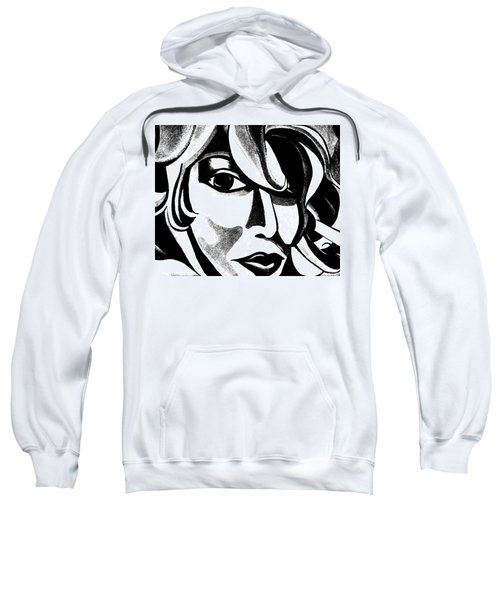 Black And White Abstract Woman Face Art Sweatshirt