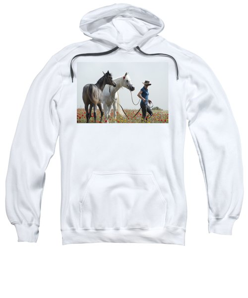 Sweatshirt featuring the photograph Three At The Poppies' Field... 1 by Dubi Roman