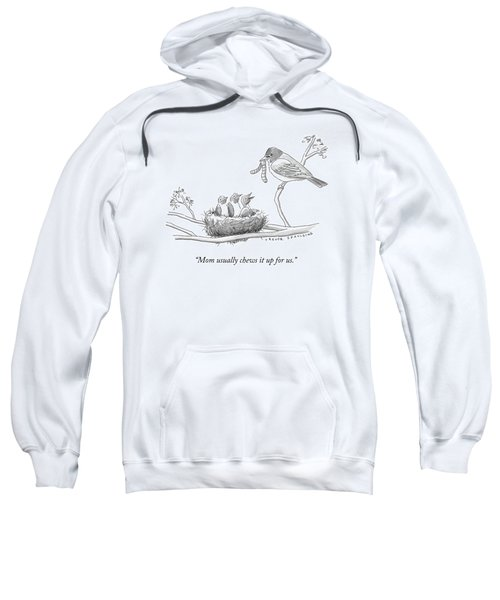 Three Baby Birds In A Nest Talk To A Grown Bird Sweatshirt