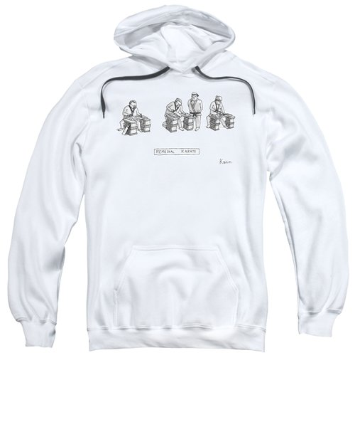 Three Men In Karate Outfits Stand In Front Sweatshirt