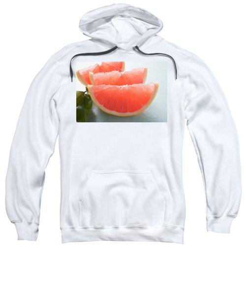 Three Pink Grapefruit Wedges, Leaves Beside Them Sweatshirt