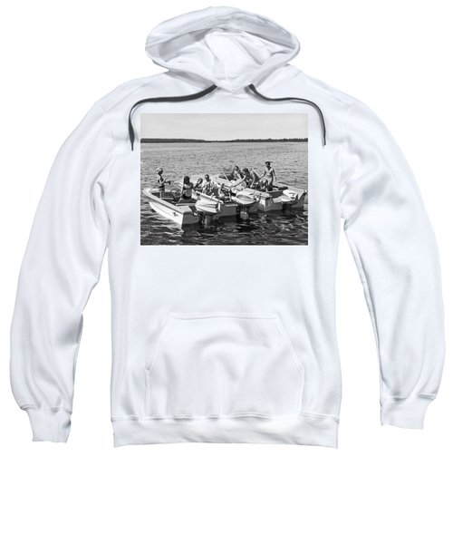 Three Power Boats Gather Together For Summer Boating Fun Sweatshirt