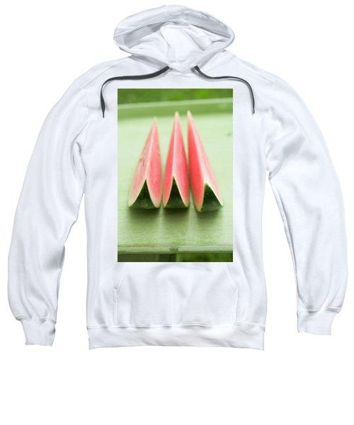 Three Wedges Of Watermelon On Green Table Sweatshirt