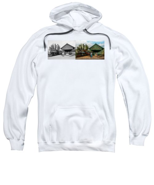 Train - Haines Corners - Catskill Mountains - Ny - Waiting For Departure - 1901 - Side By Side Sweatshirt
