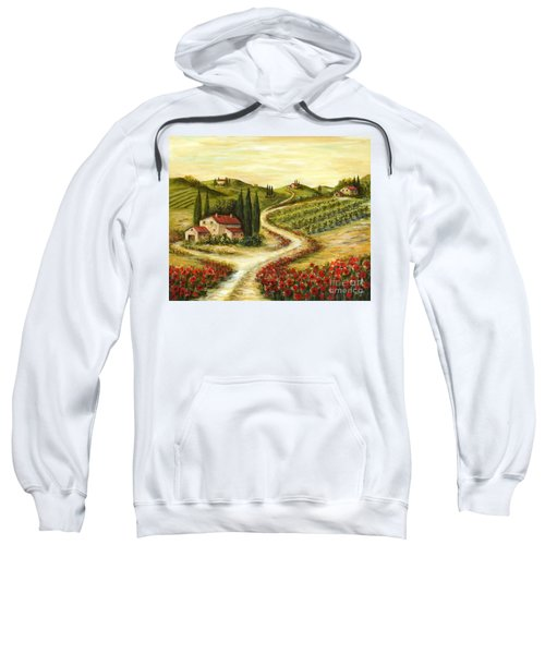 Tuscan Road With Poppies Sweatshirt