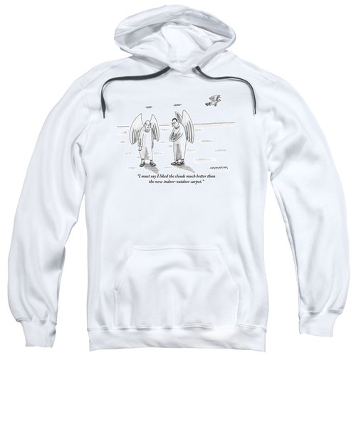 Two Angels Stand On An Expansive Flat Ground Sweatshirt