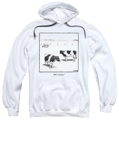 Two Spotted Cows Looking At A Jersey Cow Sweatshirt