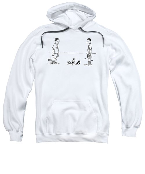 Two Boys On A Soccer Team Look Down At The Ground Sweatshirt