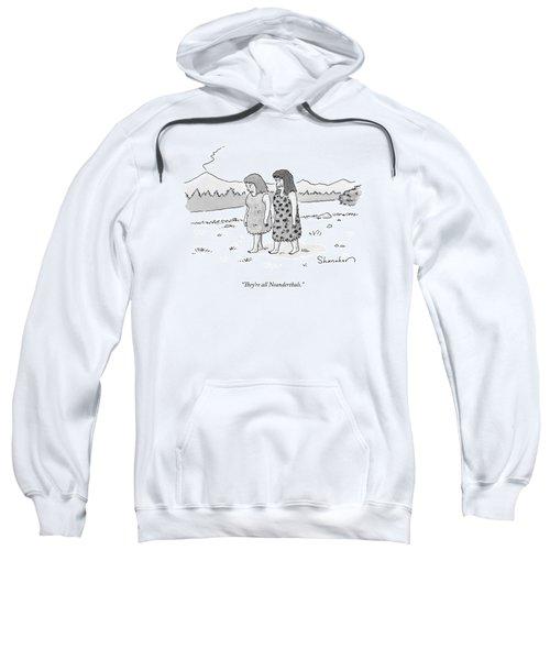 Two Cavewomen Walk And Talk Sweatshirt