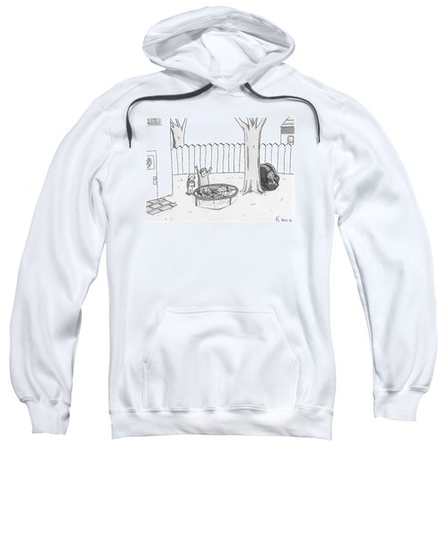 Two Children Excitedly Look At A Web Disguised Sweatshirt