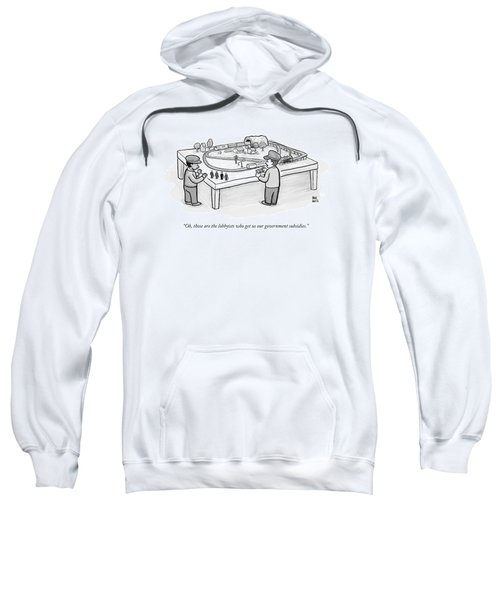 Two Children Play With A Toy Train Set Sweatshirt