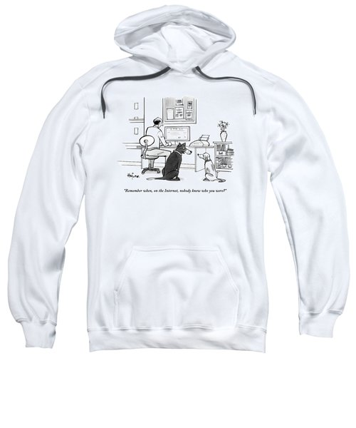 Two Dogs Speak As Their Owner Uses The Computer - Sweatshirt