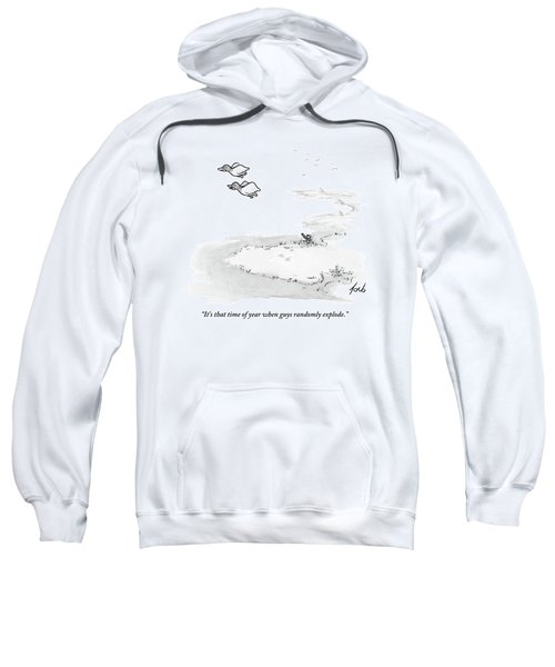 Two Ducks Fly Over A Pond. A Hunter Hides Sweatshirt