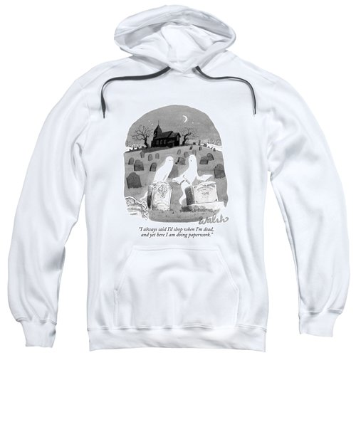 Two Ghosts Talk In A Graveyard.  One Is Holding Sweatshirt