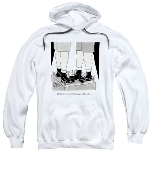 Two Giant Boxers Stand In A Regular Sized Boxing Sweatshirt