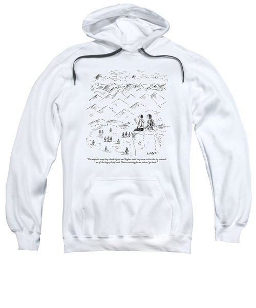 Two Hikers In A Mountainous Area Are Resting. One Sweatshirt