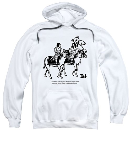 Two Knights On Horses Talk And One Is Carrying Sweatshirt