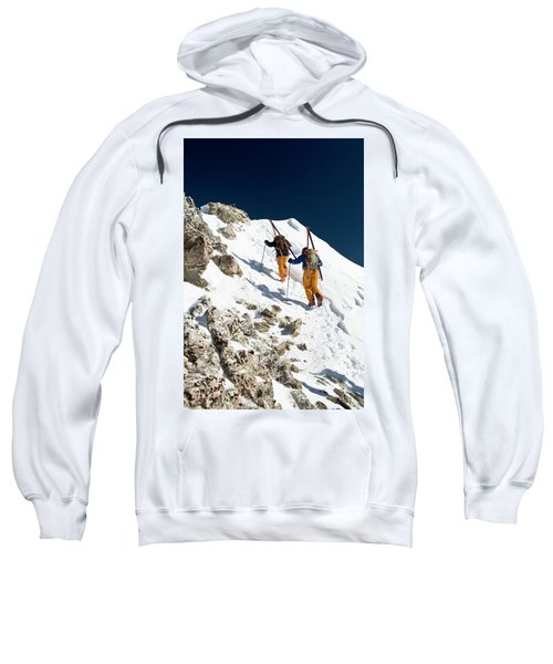 Two Men Backcountry Skiing Hike Sweatshirt