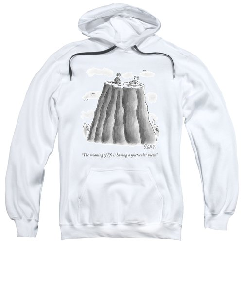 Two Men On Top Of The Plateau Of A Large Mountain Sweatshirt