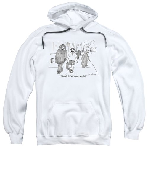 Two Men Walk Down The Sidewalk Together: One Sweatshirt