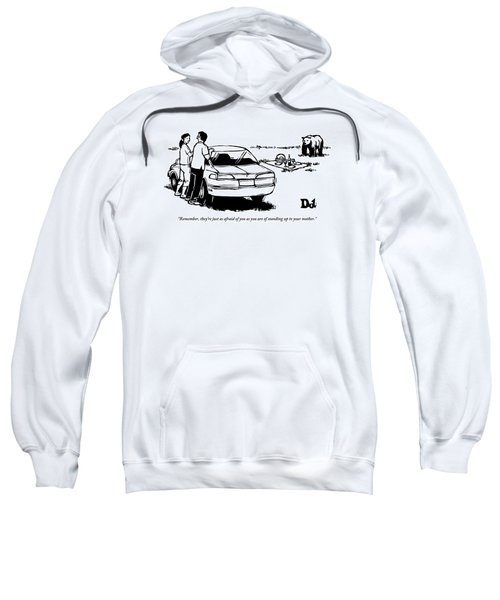 Two People Standing Behind Car Looking At Picnic Sweatshirt