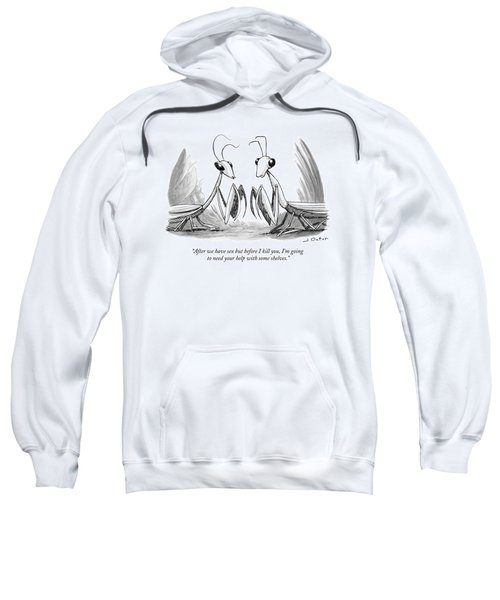 Two Praying Mantises Facing Each Other Sweatshirt