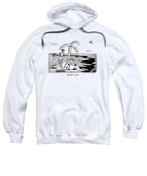 Two Shipwrecked Men Are On An Island With A Big Sweatshirt
