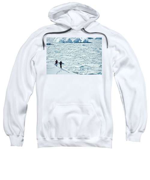 Two Skiers Looking Out At Ocean Covered Sweatshirt