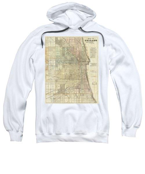 Vintage Map Of Chicago - 1857 Sweatshirt