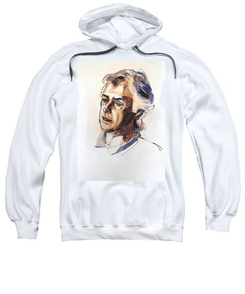 Watercolor Portrait Sketch Of A Man In Monochrome Sweatshirt